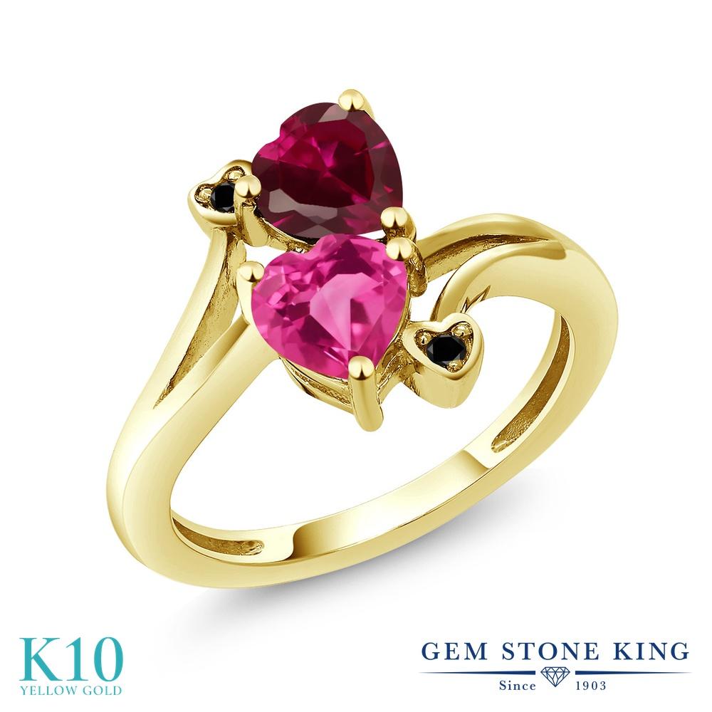 【10%OFF】 Gem Stone King 1.8カラット 合成ピンクサファイア 合成ルビー ブラックダイヤモンド 指輪 リング レディース 10金 イエローゴールド K10 ダブルストーン クリスマスプレゼント 女性 彼女 妻 誕生日