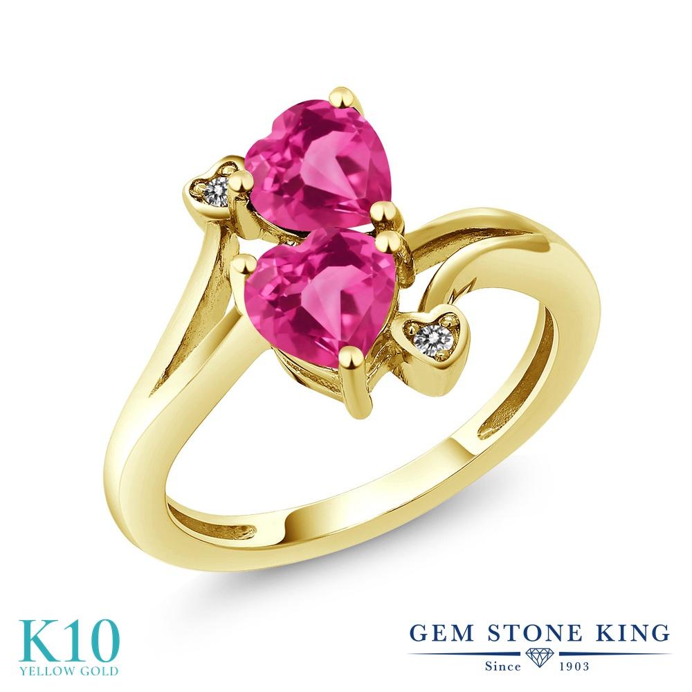 Gem Stone King 1.63カラット 合成ピンクサファイア 天然 ダイヤモンド 10金 イエローゴールド(K10) 指輪 リング レディース ダブルストーン 金属アレルギー対応 誕生日プレゼント