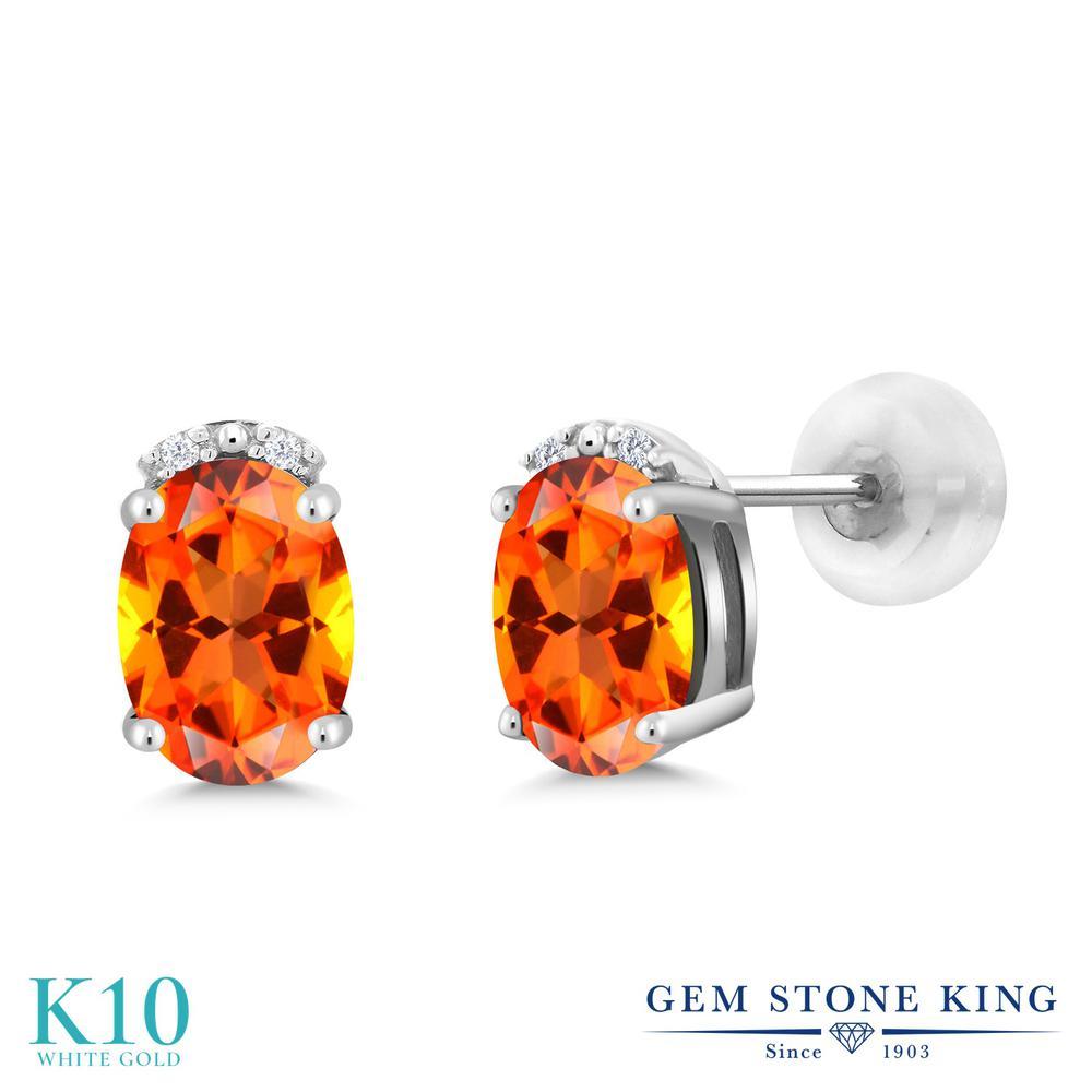 Gem Stone King 2.03カラット 天然石 トパーズ ポピー (スワロフスキー 天然石シリーズ) 天然 ダイヤモンド 10金 ホワイトゴールド(K10) ピアス レディース 大粒 スタッド 天然石 金属アレルギー対応 誕生日プレゼント