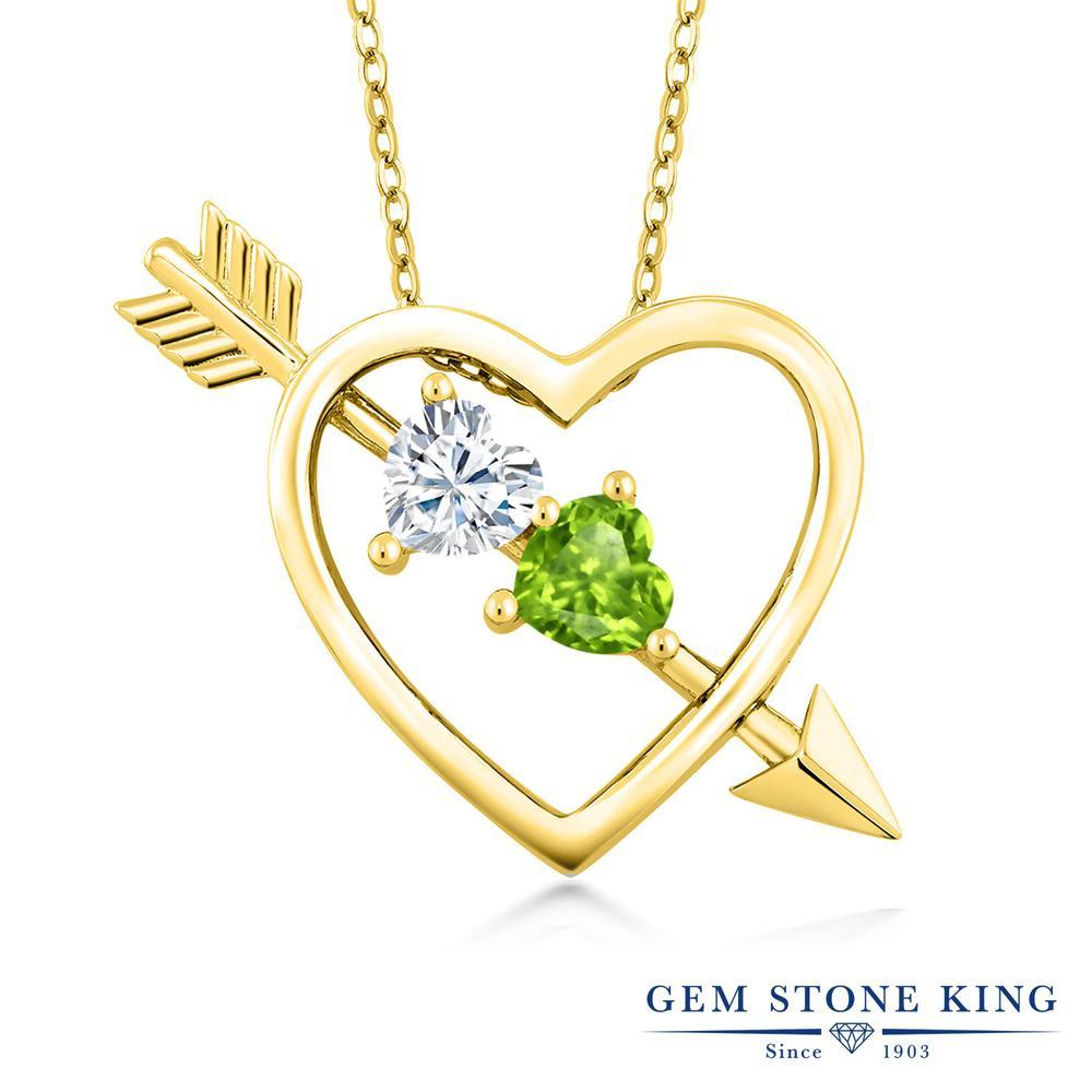 Gem Stone King 1カラット Forever Brilliant モアサナイト Charles & Colvard 天然石 ペリドット シルバー925 イエローゴールドコーティング ネックレス ペンダント レディース モアッサナイト 小粒 シンプル 金属アレルギー対応 誕生日プレゼント