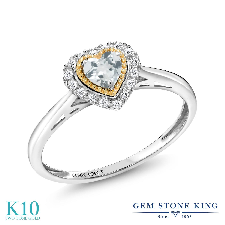 Gem Stone King 0.39カラット 天然 アクアマリン 天然 ダイヤモンド 10金 Two Toneゴールド(K10) 指輪 リング レディース 小粒 ヘイロー 天然石 3月 誕生石 金属アレルギー対応 誕生日プレゼント