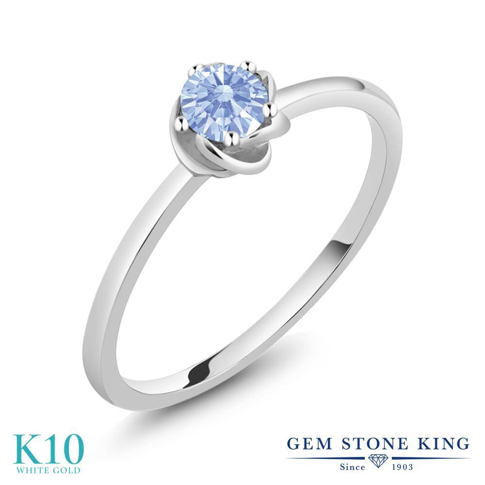 Gem Stone King スワロフスキージルコニア (アークティックブルー) 10金 ホワイトゴールド(K10) 指輪 リング レディース CZ 小粒 一粒 シンプル ソリティア 華奢 細身 金属アレルギー対応 誕生日プレゼント