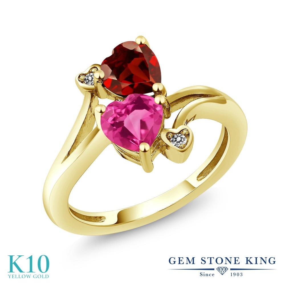 【10%OFF】 Gem Stone King 1.73カラット 合成ピンクサファイア 天然 ガーネット ダイヤモンド 指輪 リング レディース 10金 イエローゴールド K10 ダブルストーン クリスマスプレゼント 女性 彼女 妻 誕生日