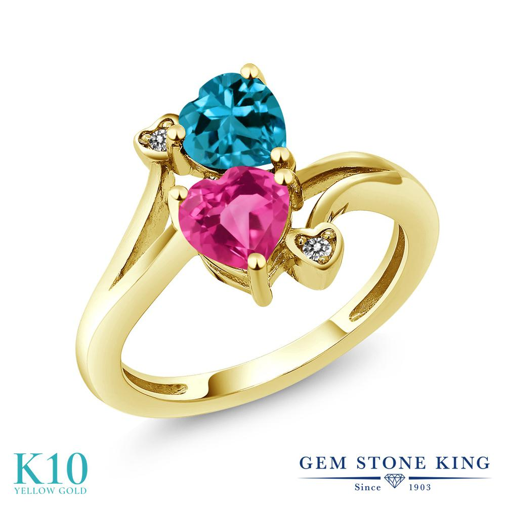 Gem Stone King 1.78カラット 合成ピンクサファイア 天然 ロンドンブルートパーズ 天然 ダイヤモンド 10金 イエローゴールド(K10) 指輪 リング レディース ダブルストーン 金属アレルギー対応 誕生日プレゼント
