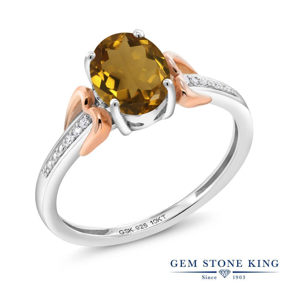 Gem Stone King 1カラット 天然石 ウィスキークォーツ 天然 ダイヤモンド &指輪 リング レディース 10金 ピンクゴールド K10 シルバー925 大粒 マルチストーン 金属アレルギー対応