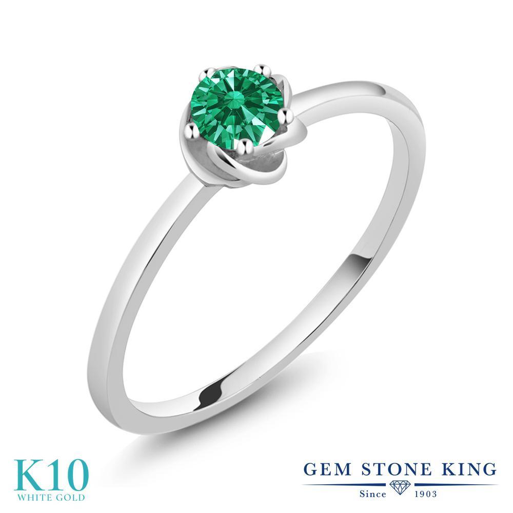 Gem Stone King スワロフスキージルコニア (グリーン) 10金 ホワイトゴールド(K10) 指輪 リング レディース CZ 小粒 一粒 シンプル ソリティア 華奢 細身 金属アレルギー対応 誕生日プレゼント