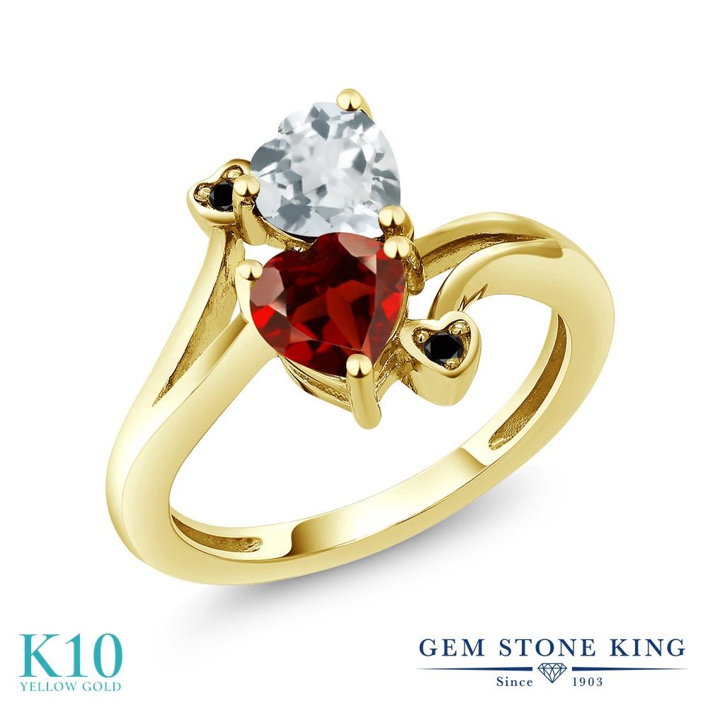 Gem Stone King 1.6カラット 天然 ガーネット 天然 アクアマリン 天然ブラックダイヤモンド 10金 イエローゴールド(K10) 指輪 リング レディース ダブルストーン 天然石 1月 誕生石 金属アレルギー対応 誕生日プレゼント
