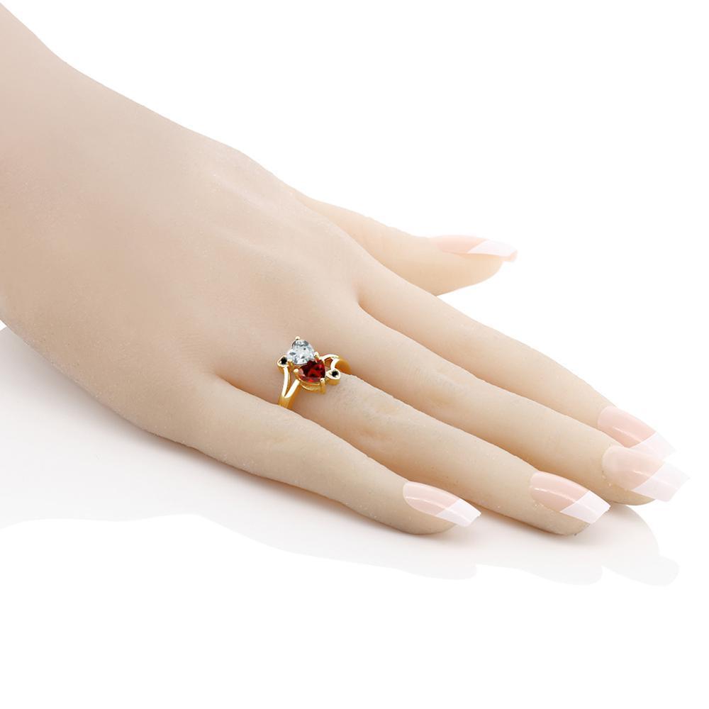 1 6カラット 天然 ガーネット 指輪 レディース リング アクアマリン ブラックダイヤモンド 10金 イエローゴールド K10 ブランド おしゃれ ハート 赤 ダブルストーン 天然石 1月 誕生石 プレゼント 女性 彼女 妻 誕生日kPXZiuTO