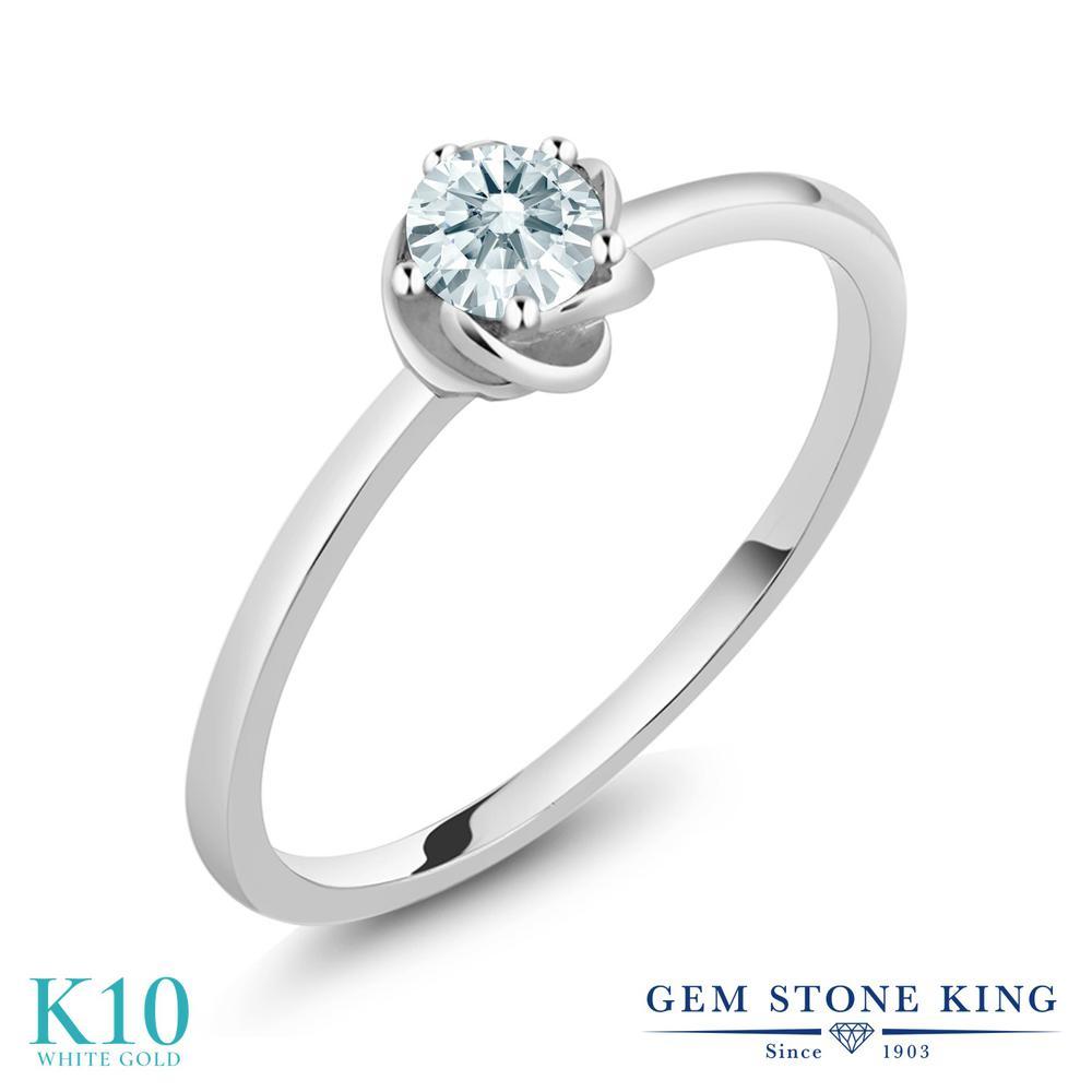Gem Stone King スワロフスキージルコニア (無色透明) 10金 ホワイトゴールド(K10) 指輪 リング レディース CZ 小粒 一粒 シンプル ソリティア 華奢 細身 金属アレルギー対応 誕生日プレゼント