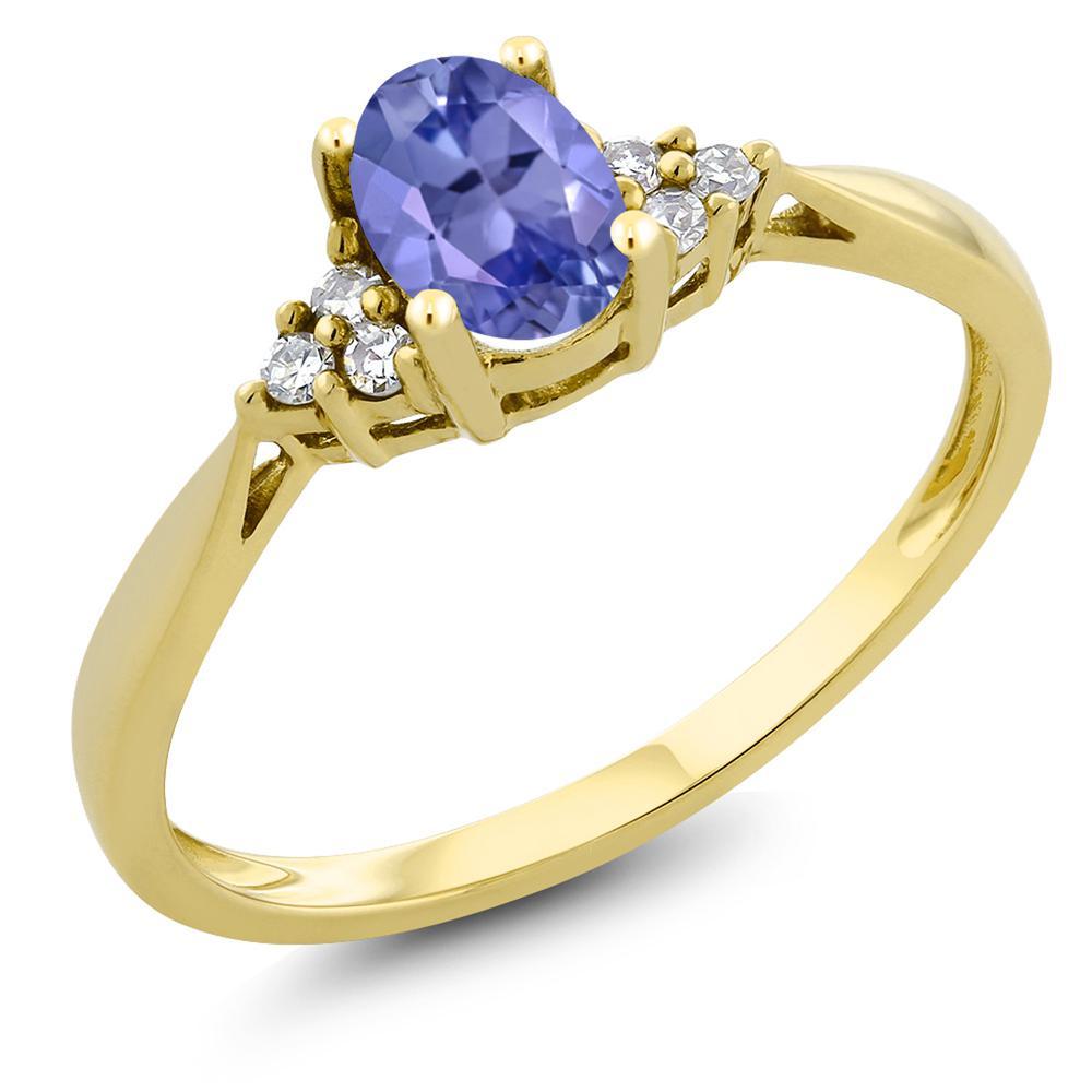 Gem Stone King 0.45カラット 天然石 タンザナイト 天然 ダイヤモンド 14金 イエローゴールド(K14) 指輪 リング レディース 小粒 ソリティア 天然石 12月 誕生石 金属アレルギー対応 誕生日プレゼント