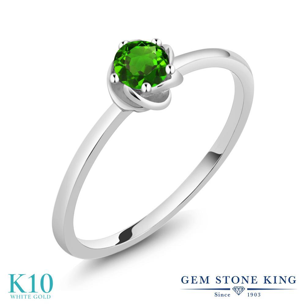 Gem Stone King 0.14カラット シミュレイテッド ツァボライト (グリーンガーネット) 10金 ホワイトゴールド(K10) 指輪 リング レディース 小粒 一粒 シンプル ソリティア 華奢 細身 金属アレルギー対応 誕生日プレゼント