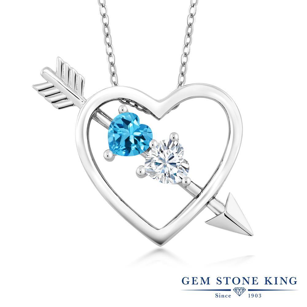 Gem Stone King 1.06カラット 天然 スイスブルートパーズ モアサナイト Charles & Colvard シルバー925 ネックレス ペンダント レディース シンプル 天然石 11月 誕生石 金属アレルギー対応 誕生日プレゼント