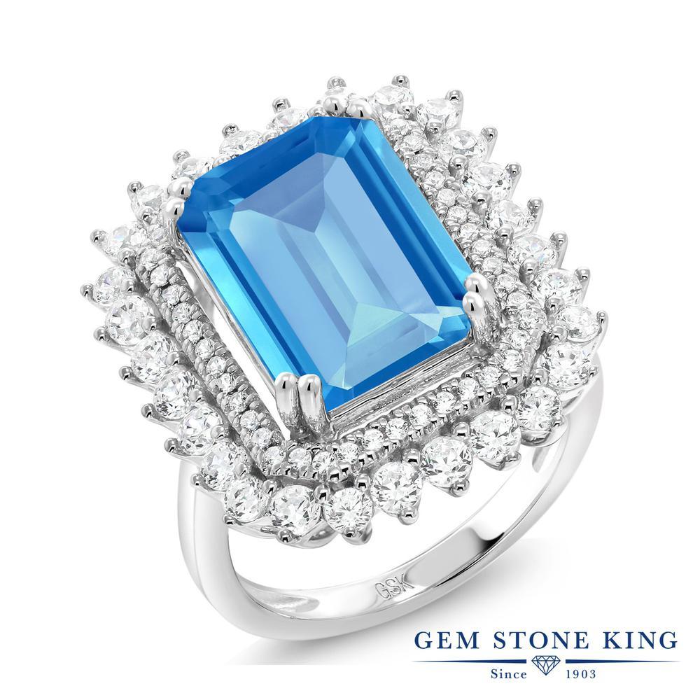Gem Stone King 7.6カラット 天然 スイスブルートパーズ シルバー925 指輪 リング レディース 大粒 大ぶり 天然石 11月 誕生石 金属アレルギー対応 誕生日プレゼント