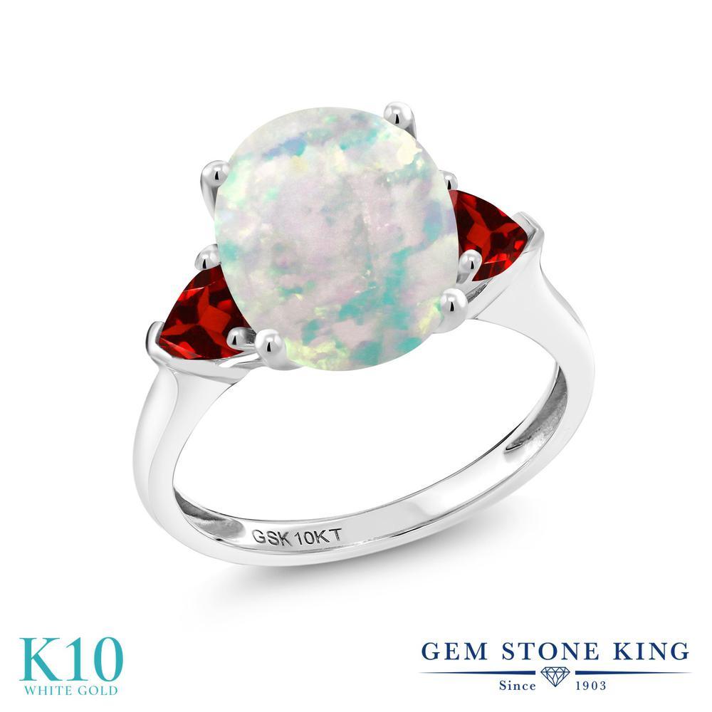 Gem Stone King 2.68カラット シミュレイテッド ホワイトオパール 天然 ガーネット 10金 ホワイトゴールド(K10) 指輪 リング レディース 大粒 シンプル スリーストーン 10月 誕生石 金属アレルギー対応 誕生日プレゼント