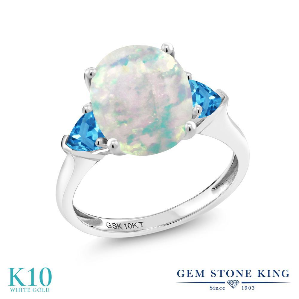 Gem Stone King 2.56カラット シミュレイテッド ホワイトオパール 天然 スイスブルートパーズ 10金 ホワイトゴールド(K10) 指輪 リング レディース 大粒 シンプル スリーストーン 10月 誕生石 金属アレルギー対応 誕生日プレゼント
