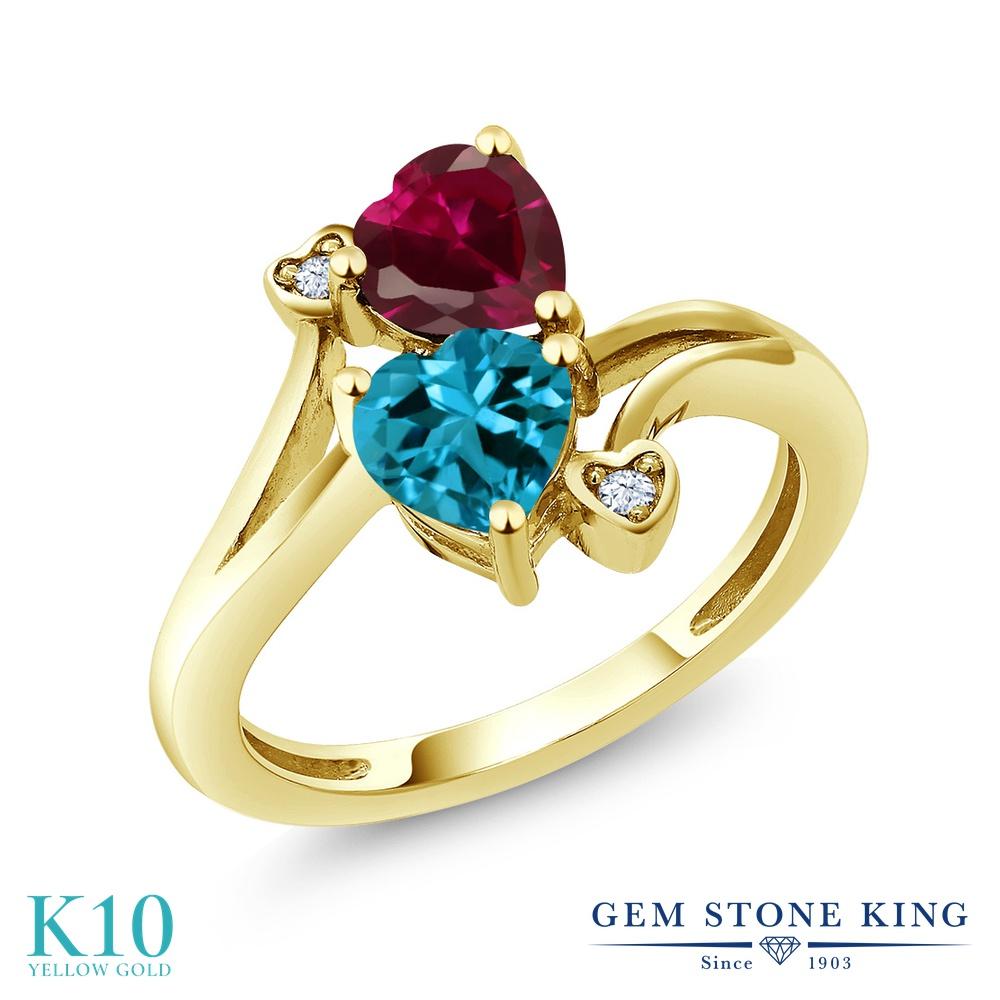Gem Stone King 1.94カラット 天然 ロンドンブルートパーズ 合成ルビー 10金 イエローゴールド(K10) 指輪 リング レディース ダブルストーン 天然石 11月 誕生石 金属アレルギー対応 誕生日プレゼント