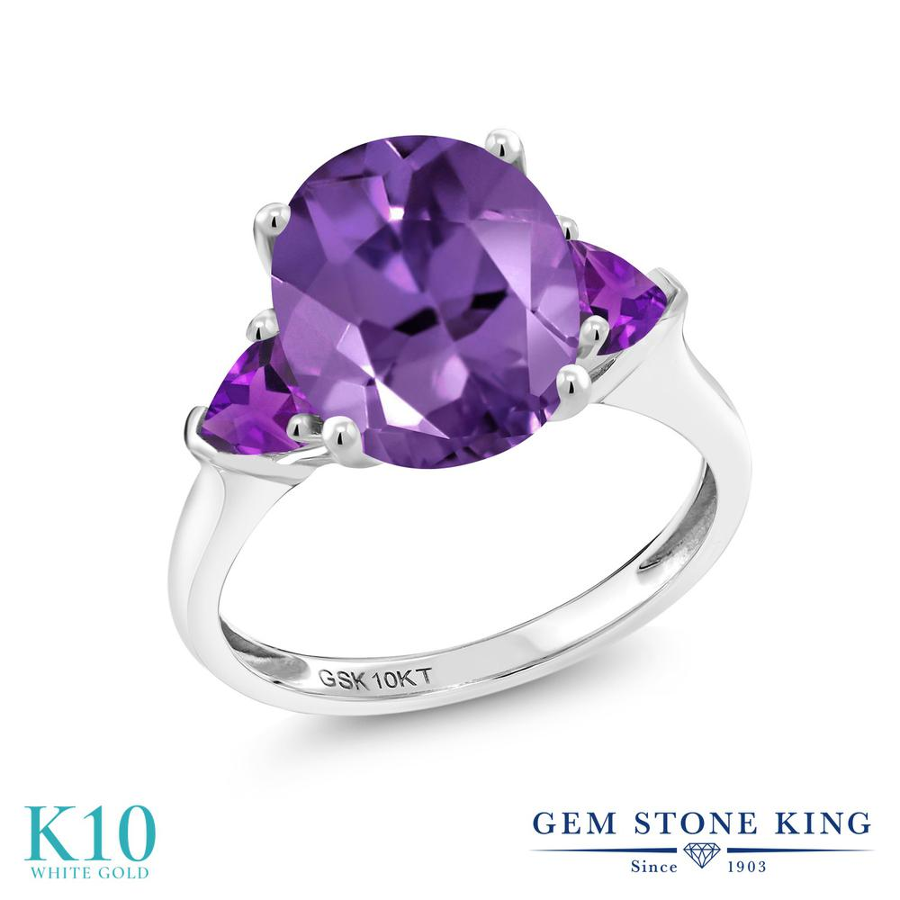Gem Stone King 2.92カラット 天然 アメジスト 10金 ホワイトゴールド(K10) 指輪 リング レディース 大粒 シンプル スリーストーン 天然石 2月 誕生石 金属アレルギー対応 誕生日プレゼント