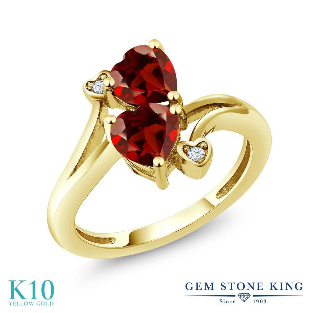 【10%OFF】 Gem Stone King 1.83カラット 天然 ガーネット 指輪 リング レディース 10金 イエローゴールド K10 ダブルストーン 天然石 1月 誕生石 クリスマスプレゼント 女性 彼女 妻 誕生日
