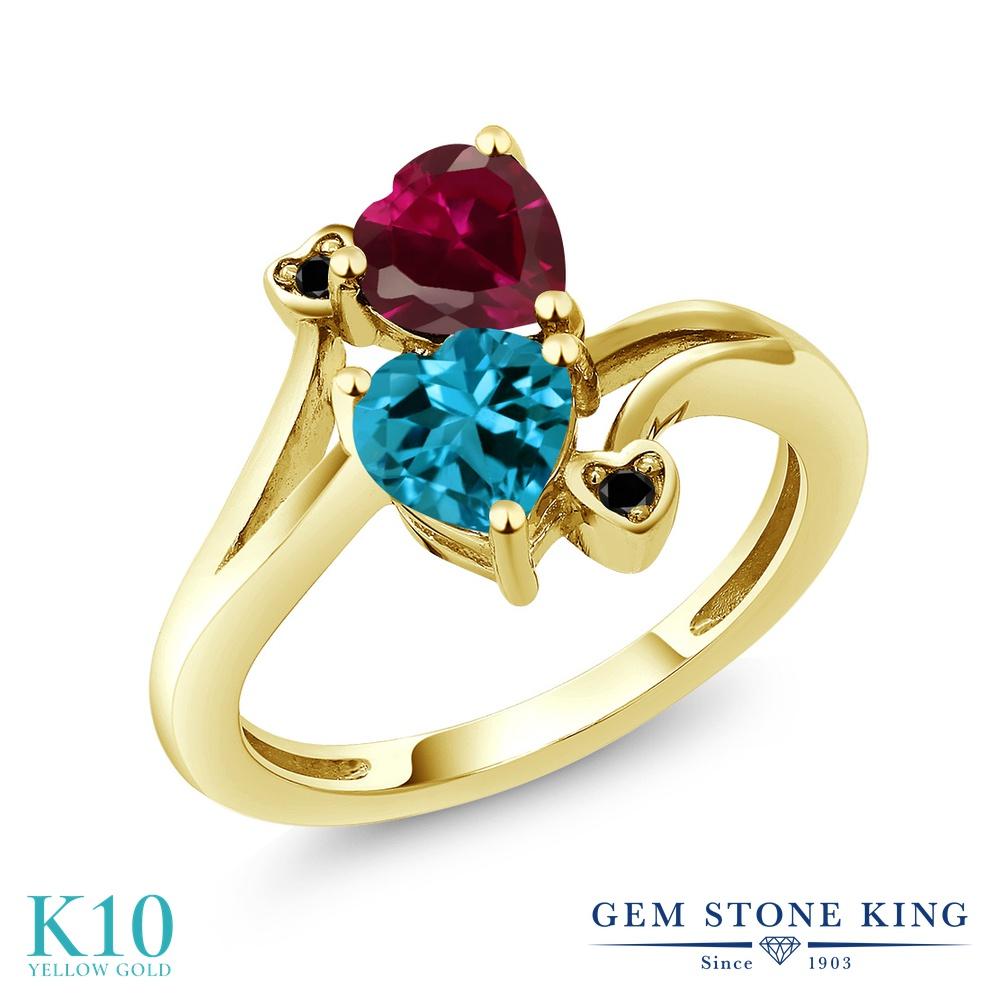 Gem Stone King 1.95カラット 天然 ロンドンブルートパーズ 合成ルビー 天然ブラックダイヤモンド 10金 イエローゴールド(K10) 指輪 リング レディース ダブルストーン 天然石 11月 誕生石 金属アレルギー対応 誕生日プレゼント