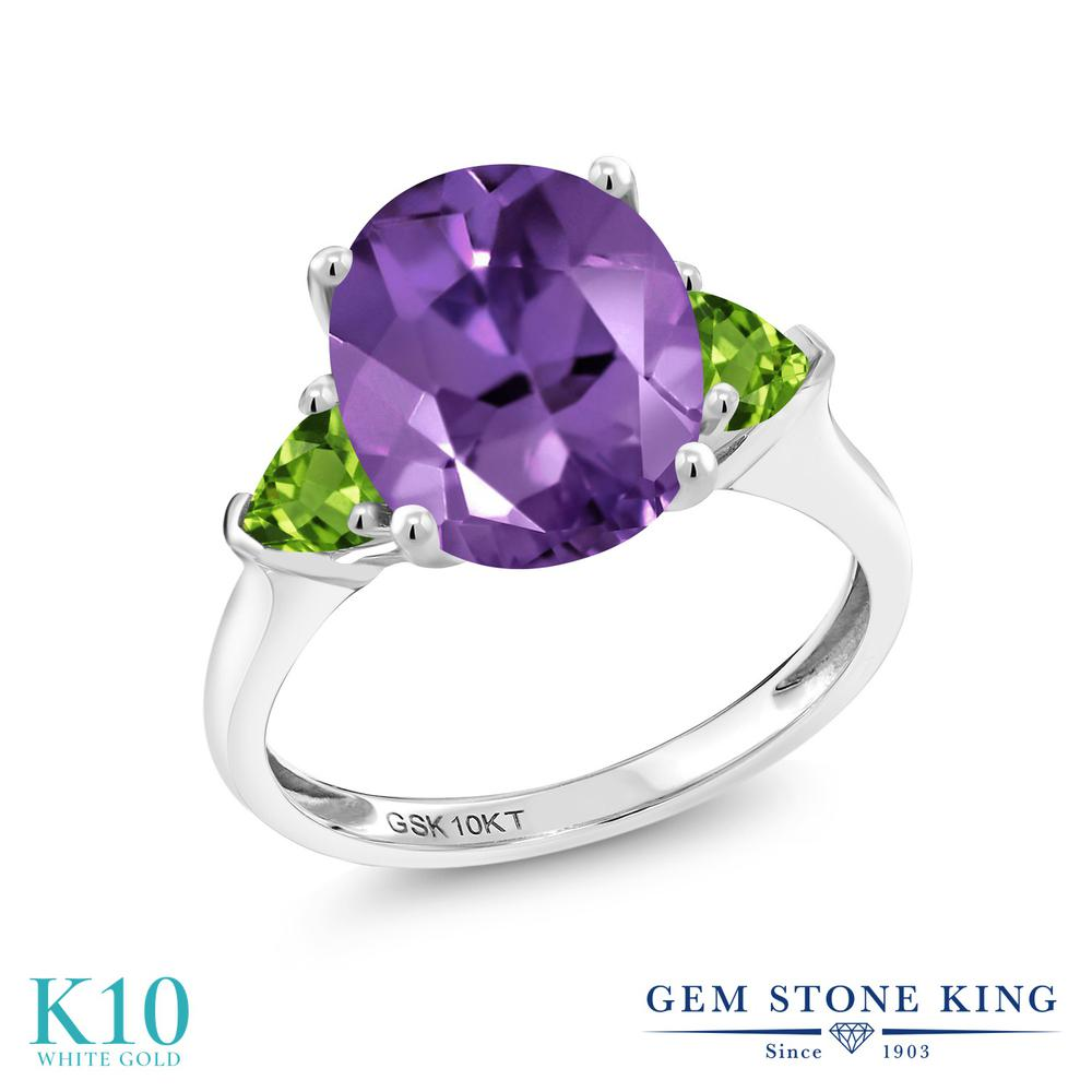 Gem Stone King 3.02カラット 天然 アメジスト 天然石 ペリドット 10金 ホワイトゴールド(K10) 指輪 リング レディース 大粒 シンプル スリーストーン 天然石 2月 誕生石 金属アレルギー対応 誕生日プレゼント