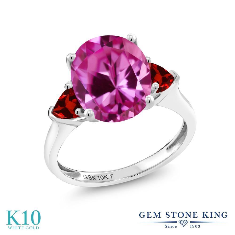 【10%OFF】 Gem Stone King 5.18カラット 合成ピンクサファイア 天然 ガーネット 指輪 リング レディース 10金 ホワイトゴールド K10 大粒 シンプル スリーストーン クリスマスプレゼント 女性 彼女 妻 誕生日