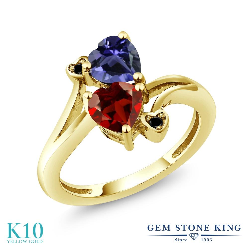 Gem Stone King 1.51カラット 天然 ガーネット 天然 アイオライト (ブルー) 天然ブラックダイヤモンド 10金 イエローゴールド(K10) 指輪 リング レディース ダブルストーン 天然石 1月 誕生石 金属アレルギー対応 誕生日プレゼント