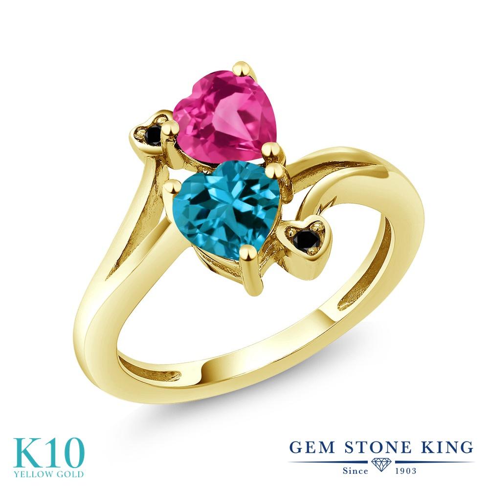 Gem Stone King 1.78カラット 天然 ロンドンブルートパーズ 合成ピンクサファイア 天然ブラックダイヤモンド 10金 イエローゴールド(K10) 指輪 リング レディース ダブルストーン 天然石 11月 誕生石 金属アレルギー対応 誕生日プレゼント