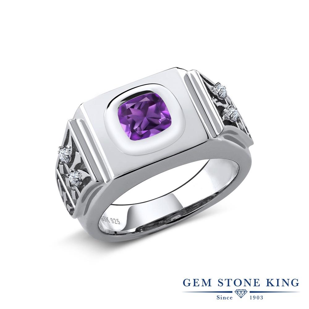 Gem Stone King 2.09カラット 天然アメジスト シルバー925 指輪 リング レディース 大粒 ソリティア 天然石 誕生石 金属アレルギー対応 誕生日プレゼント