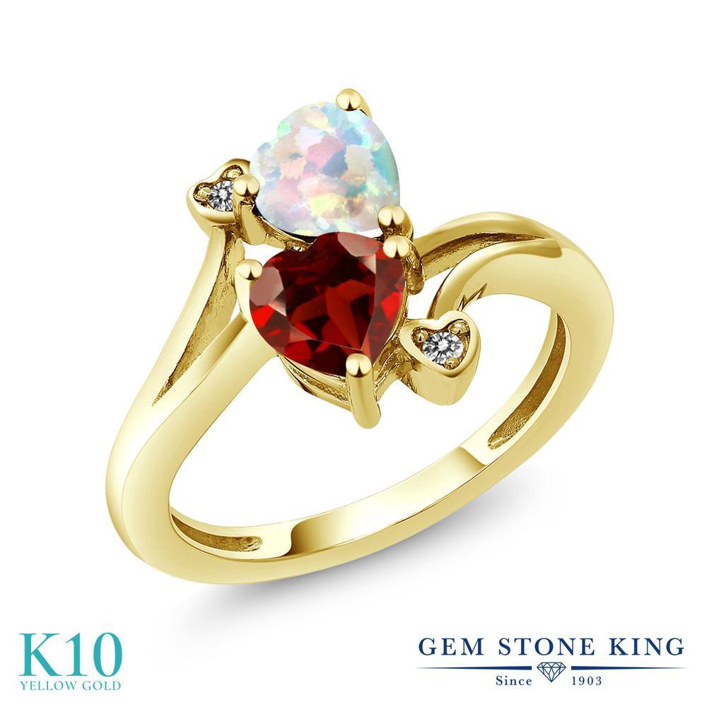 Gem Stone King 1.68カラット 天然 ガーネット シミュレイテッド ホワイトオパール 天然 ダイヤモンド 10金 イエローゴールド(K10) 指輪 リング レディース ダブルストーン 天然石 1月 誕生石 金属アレルギー対応 誕生日プレゼント