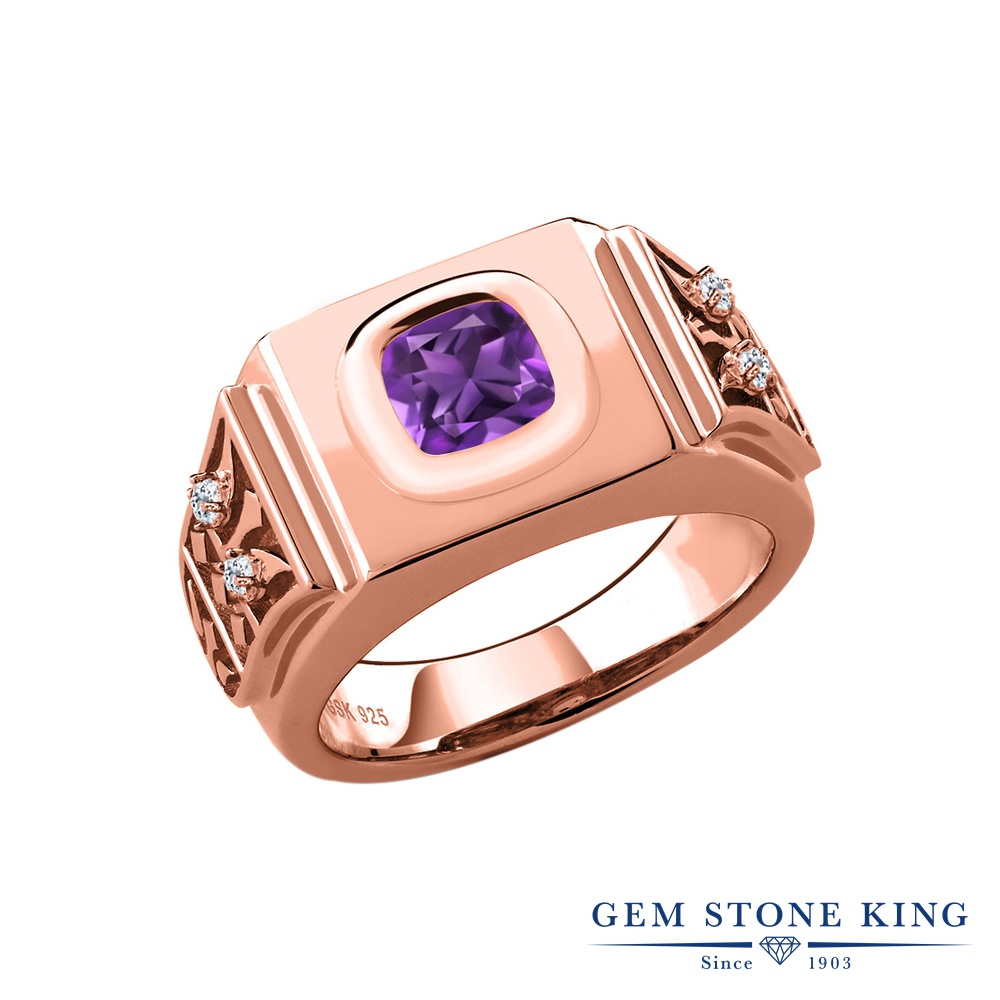 Gem Stone King 2.09カラット 天然 アメジスト トパーズ 指輪 リング レディース シルバー925 ピンクゴールド 加工 アメシスト 大粒 ソリティア 天然石 2月 誕生石 金属アレルギー対応