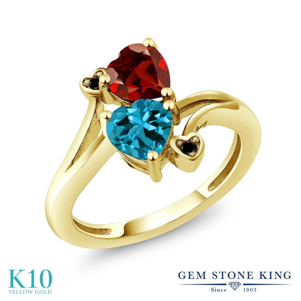 Gem Stone King 1.88カラット 天然 ロンドンブルートパーズ 天然 ガーネット 天然ブラックダイヤモンド 10金 イエローゴールド(K10) 指輪 リング レディース ダブルストーン 天然石 11月 誕生石 金属アレルギー対応 誕生日プレゼント