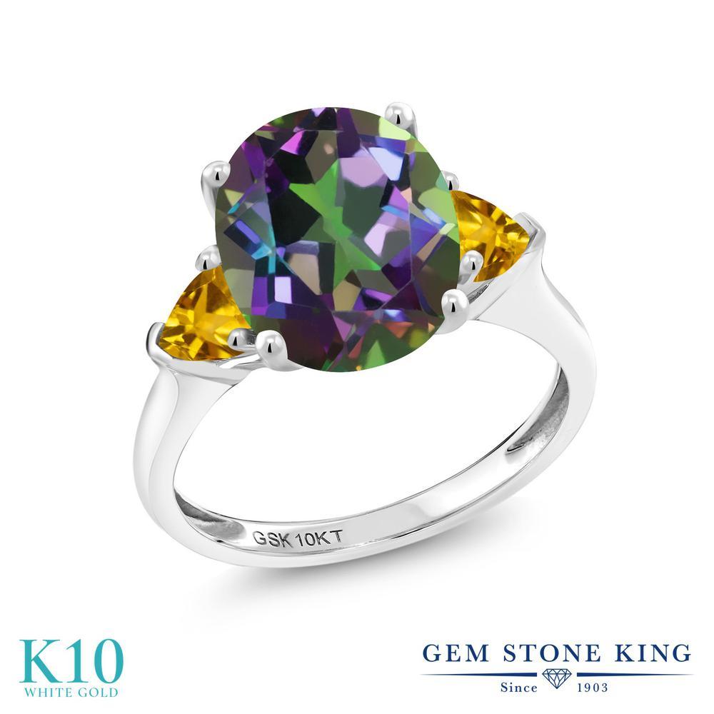 Gem Stone King 4カラット 天然石 ミスティッククォーツ (グリーン) 天然 シトリン 10金 ホワイトゴールド(K10) 指輪 リング レディース 大粒 シンプル スリーストーン 天然石 金属アレルギー対応 誕生日プレゼント