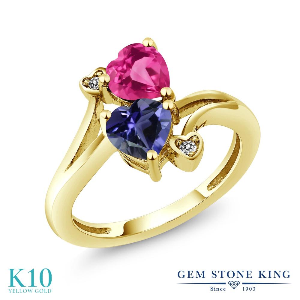 Gem Stone King 1.41カラット 天然 アイオライト (ブルー) 合成ピンクサファイア 天然 ダイヤモンド 10金 イエローゴールド(K10) 指輪 リング レディース ダブルストーン 天然石 金属アレルギー対応 誕生日プレゼント