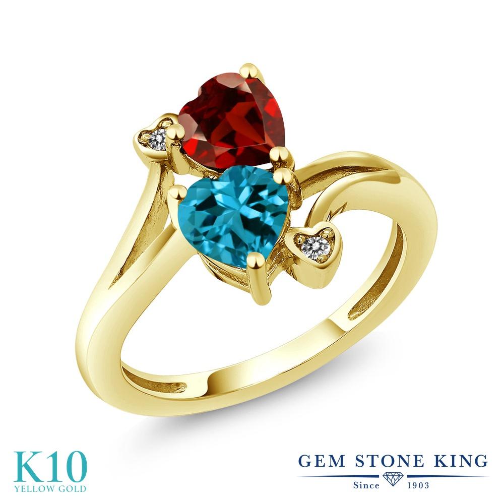Gem Stone King 1.88カラット 天然 ロンドンブルートパーズ 天然 ガーネット 天然 ダイヤモンド 10金 イエローゴールド(K10) 指輪 リング レディース ダブルストーン 天然石 11月 誕生石 金属アレルギー対応 誕生日プレゼント