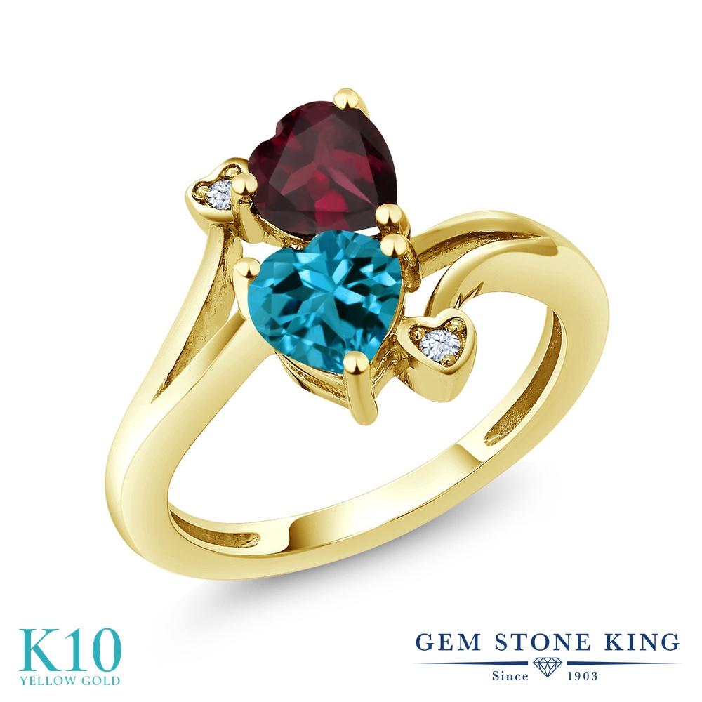 Gem Stone King 1.7カラット 天然 ロンドンブルートパーズ 天然 ロードライトガーネット 10金 イエローゴールド(K10) 指輪 リング レディース ダブルストーン 天然石 11月 誕生石 金属アレルギー対応 誕生日プレゼント