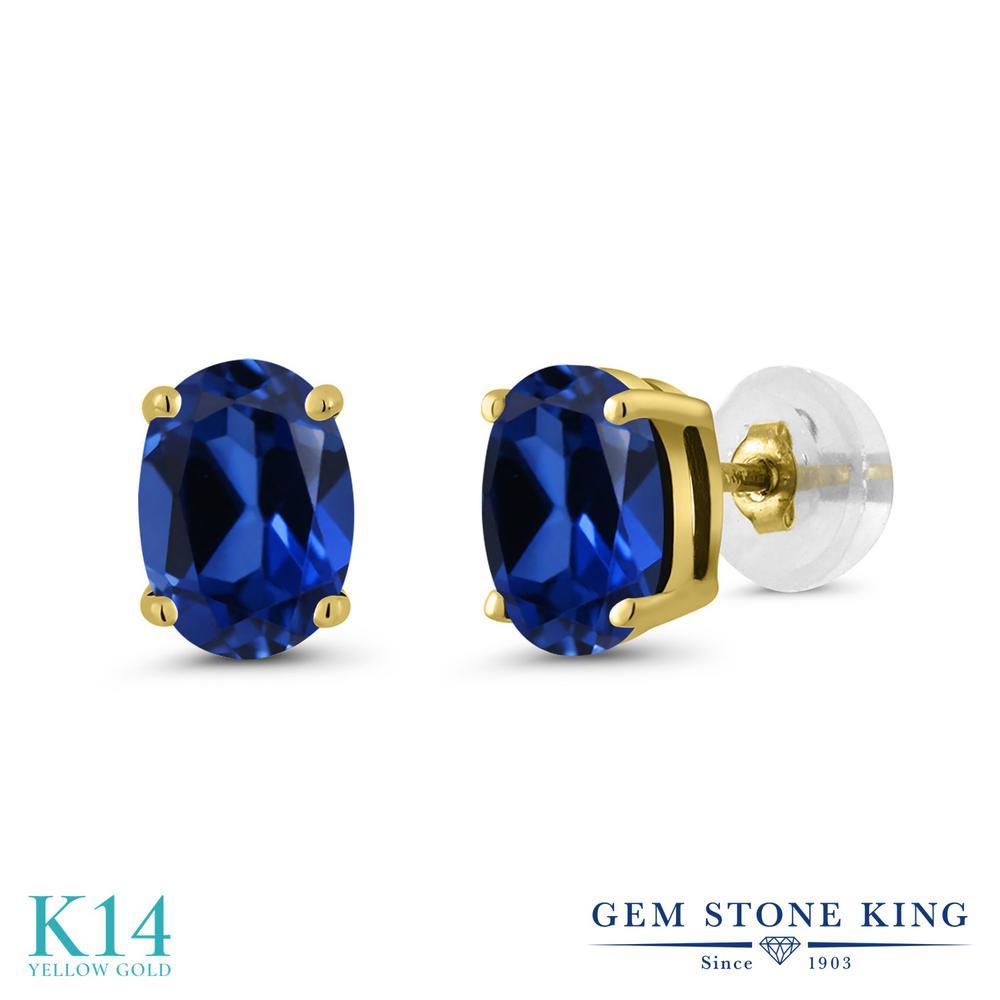 Gem Stone King 1.8カラット シミュレイテッド サファイア 14金 イエローゴールド(K14) ピアス レディース シンプル スタッド 金属アレルギー対応 誕生日プレゼント
