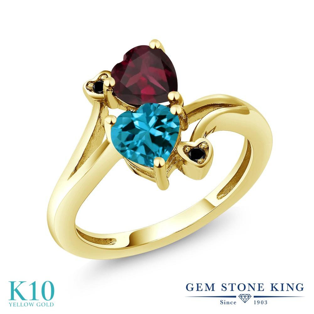 Gem Stone King 1.7カラット 天然 ロンドンブルートパーズ 天然 ロードライトガーネット 天然ブラックダイヤモンド 10金 イエローゴールド(K10) 指輪 リング レディース ダブルストーン 天然石 11月 誕生石 金属アレルギー対応 誕生日プレゼント