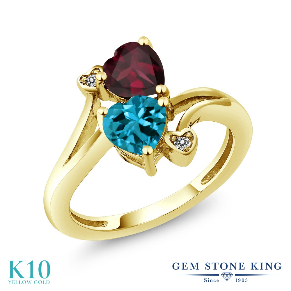 Gem Stone King 1.7カラット 天然 ロンドンブルートパーズ 天然 ロードライトガーネット 天然 ダイヤモンド 10金 イエローゴールド(K10) 指輪 リング レディース ダブルストーン 天然石 11月 誕生石 金属アレルギー対応 誕生日プレゼント
