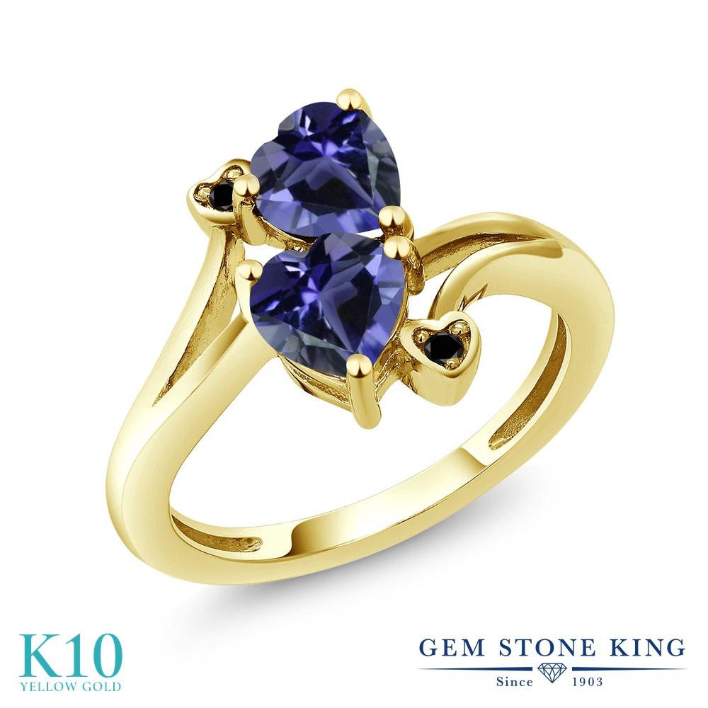 Gem Stone King 1.19カラット 天然 アイオライト (ブルー) 天然ブラックダイヤモンド 10金 イエローゴールド(K10) 指輪 リング レディース ダブルストーン 天然石 金属アレルギー対応 誕生日プレゼント