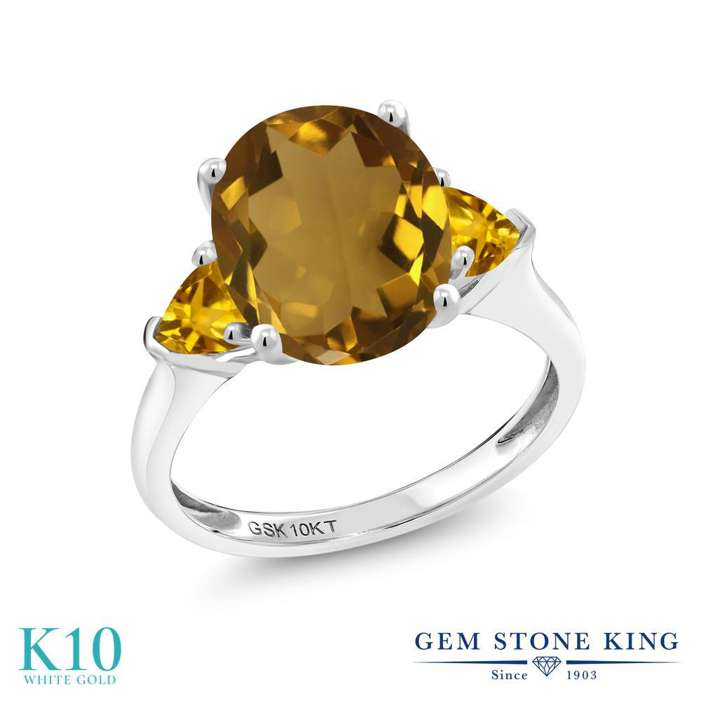Gem Stone King 3.4カラット 天然石 ウィスキークォーツ 天然 シトリン 10金 ホワイトゴールド(K10) 指輪 リング レディース 大粒 シンプル スリーストーン 天然石 金属アレルギー対応 誕生日プレゼント