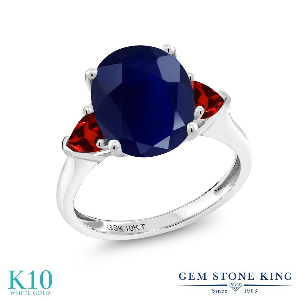 Gem Stone King 5.68カラット 天然 サファイア 天然 ガーネット 10金 ホワイトゴールド(K10) 指輪 リング レディース 大粒 シンプル スリーストーン 天然石 9月 誕生石 金属アレルギー対応 誕生日プレゼント