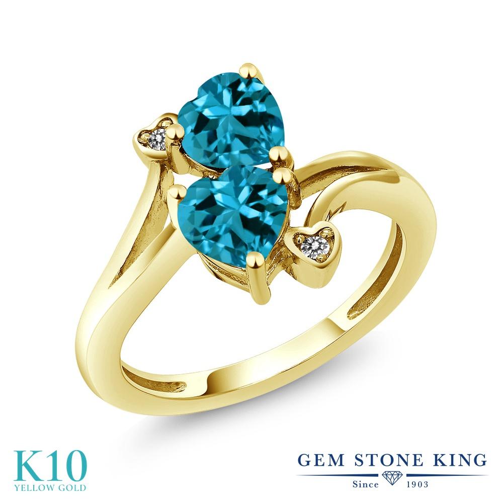 Gem Stone King 1.93カラット 天然 ロンドンブルートパーズ 天然 ダイヤモンド 10金 イエローゴールド(K10) 指輪 リング レディース ダブルストーン 天然石 11月 誕生石 金属アレルギー対応 誕生日プレゼント