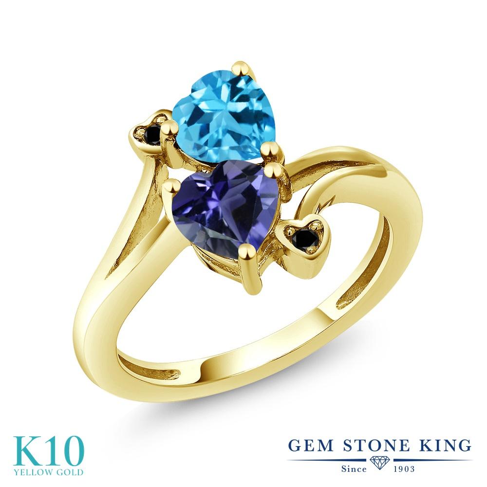 Gem Stone King 1.56カラット 天然 アイオライト (ブルー) 天然 スイスブルートパーズ 天然ブラックダイヤモンド 10金 イエローゴールド(K10) 指輪 リング レディース ダブルストーン 天然石 金属アレルギー対応 誕生日プレゼント