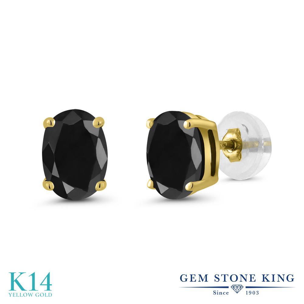 Gem Stone King 2.14カラット 天然 ブラックサファイア 14金 イエローゴールド(K14) ピアス レディース 大粒 シンプル スタッド 天然石 9月 誕生石 金属アレルギー対応 誕生日プレゼント