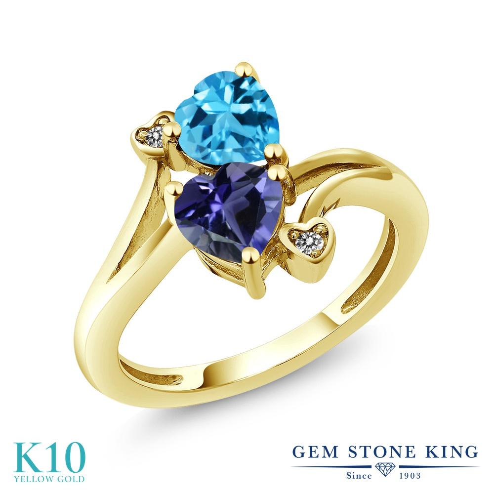 Gem Stone King 1.56カラット 天然 アイオライト (ブルー) 天然 スイスブルートパーズ 天然 ダイヤモンド 10金 イエローゴールド(K10) 指輪 リング レディース ダブルストーン 天然石 金属アレルギー対応 誕生日プレゼント