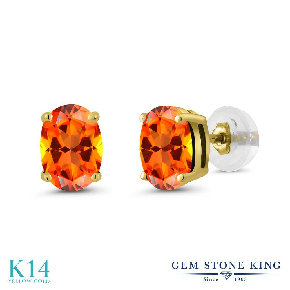 Gem Stone King 2カラット 天然石トパーズ ポピー(スワロフスキー 天然石シリーズ) 14金 イエローゴールド(K14) ピアス レディース 大粒 シンプル スタッド 天然石 金属アレルギー対応 誕生日プレゼント