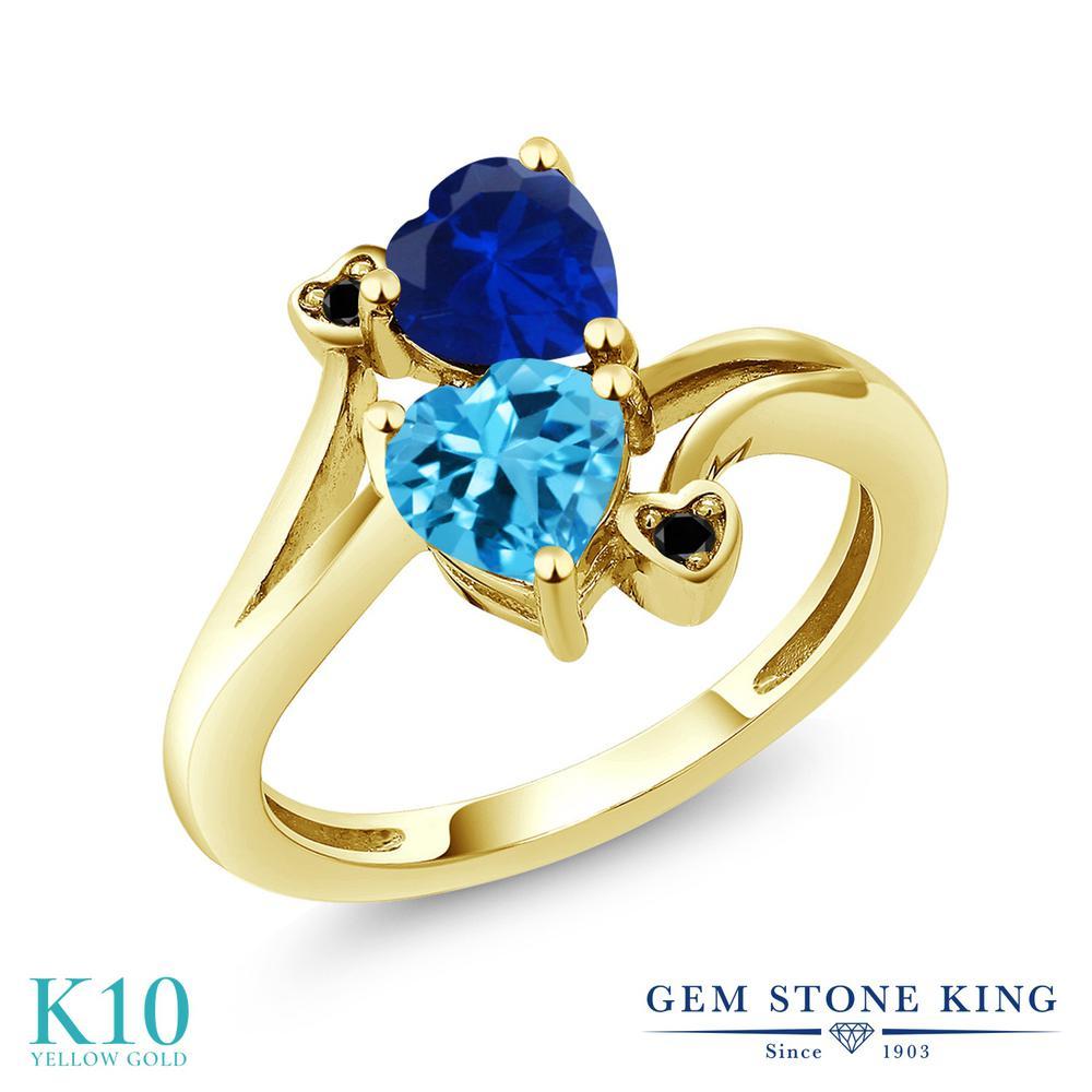 Gem Stone King 1.78カラット 天然 スイスブルートパーズ シミュレイテッド サファイア 天然ブラックダイヤモンド 10金 イエローゴールド(K10) 指輪 リング レディース ダブルストーン 天然石 11月 誕生石 金属アレルギー対応 誕生日プレゼント