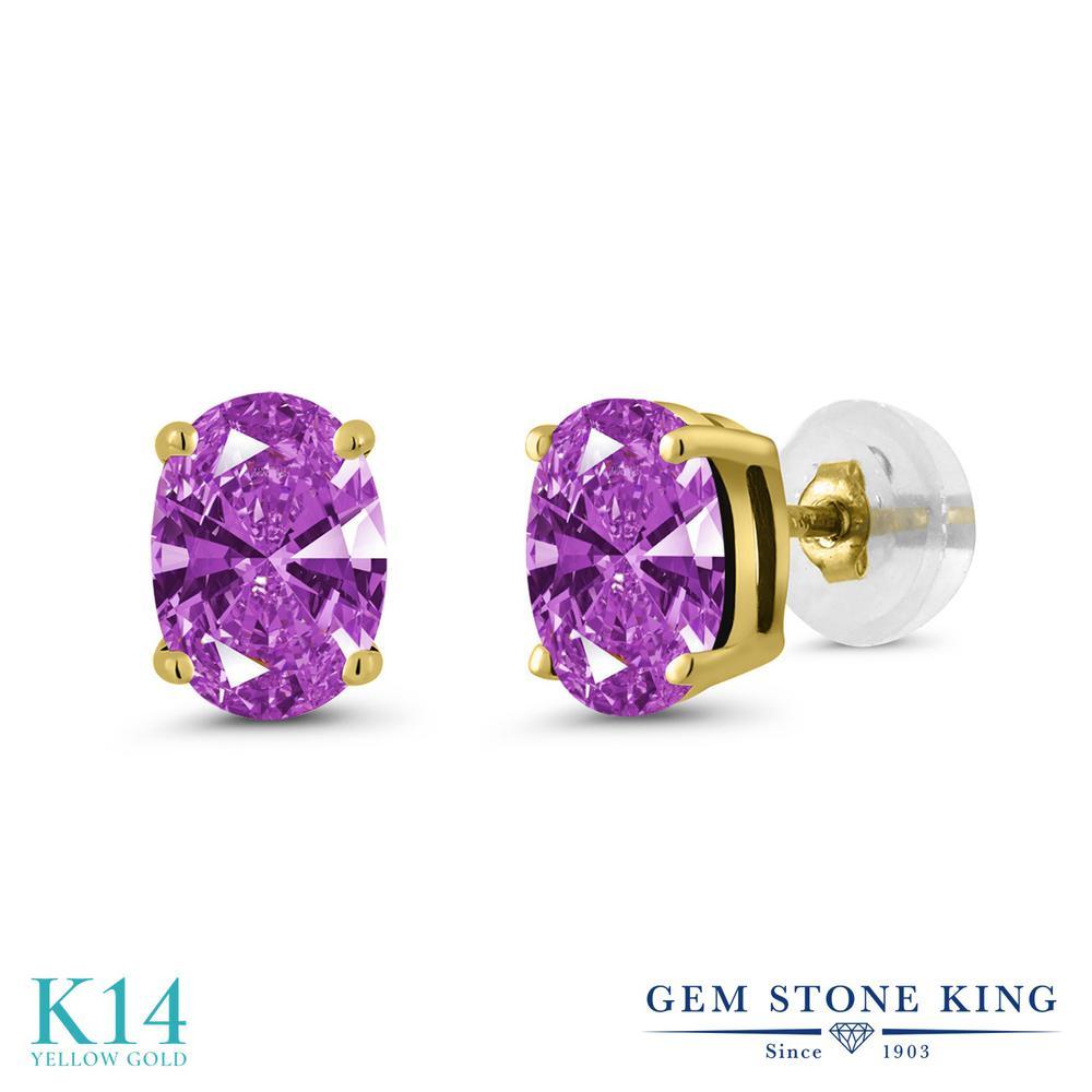 Gem Stone King スワロフスキージルコニア (ファンシーパープル) 14金 イエローゴールド(K14) ピアス レディース CZ シンプル スタッド 金属アレルギー対応 誕生日プレゼント