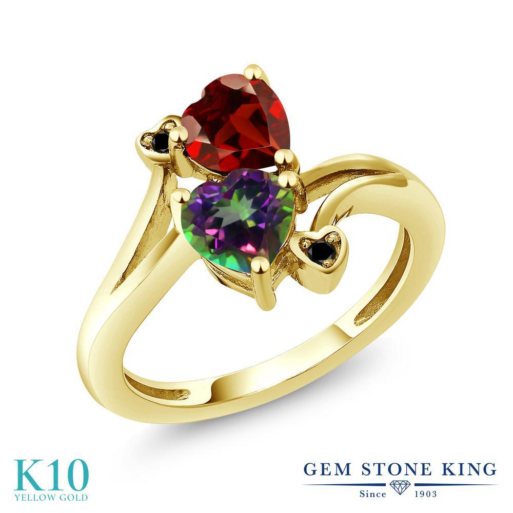 【10%OFF】 Gem Stone King 1.88カラット 天然石 ミスティックトパーズ (グリーン) 天然 ガーネット ブラックダイヤモンド 指輪 リング レディース 10金 イエローゴールド K10 ダブルストーン クリスマスプレゼント 女性 彼女 妻 誕生日