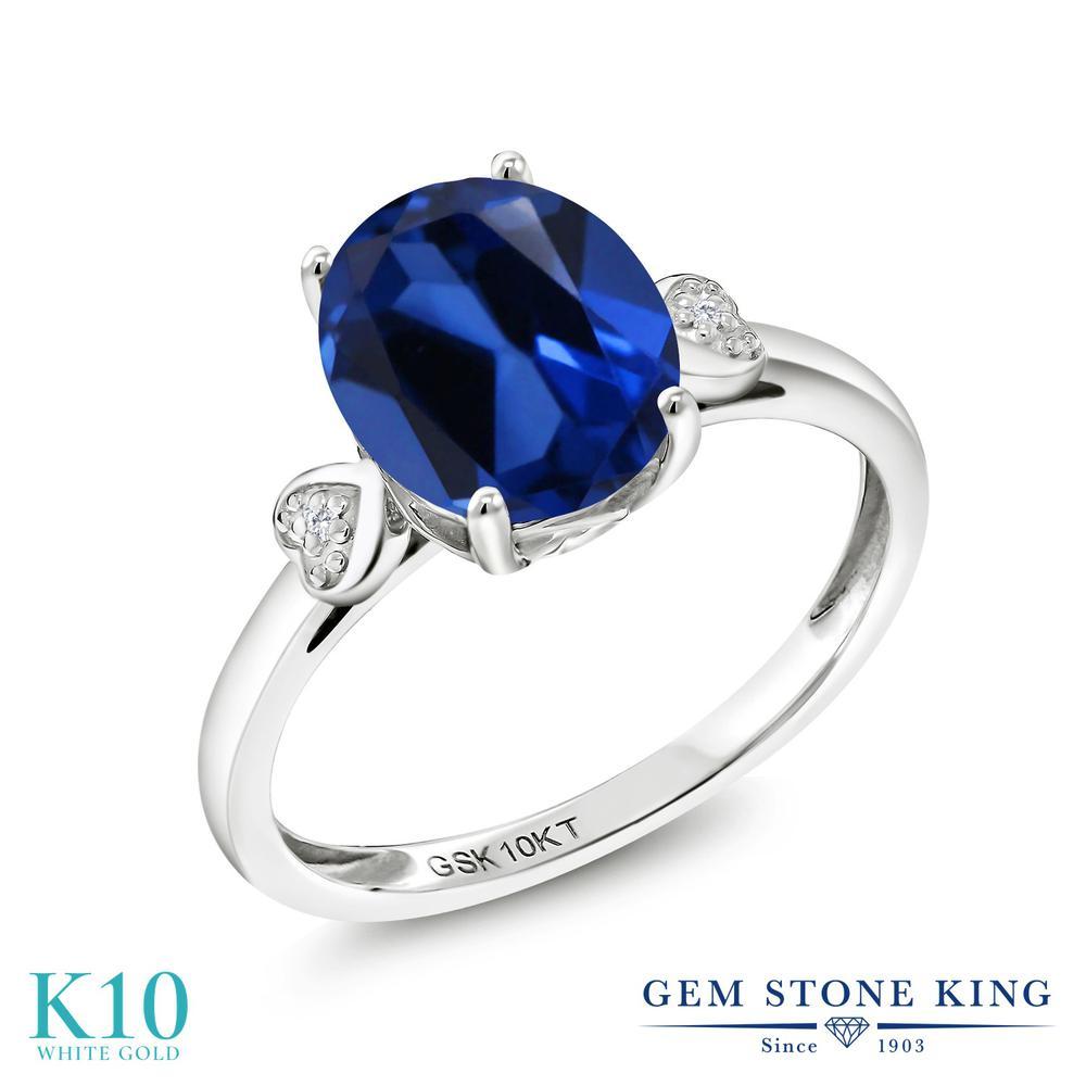 Gem Stone King 3.31カラット シミュレイテッド サファイア 天然 ダイヤモンド 10金 ホワイトゴールド(K10) 指輪 リング レディース 大粒 シンプル ソリティア 金属アレルギー対応 誕生日プレゼント